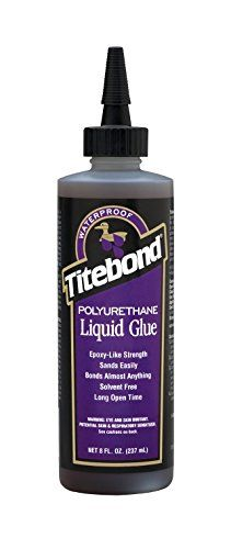 Franklin International 2303 Titebond Polyurethane Glue, 8-Ounce:   Titebond polyurethane glue is a breakthrough in adhesive technology. It is the only polyurethane glue to combine a long 30-minute working time with a short 45-minute clamp time*. it is a versatile, professional-strength glue specifically formulated for multi-purpose applications.