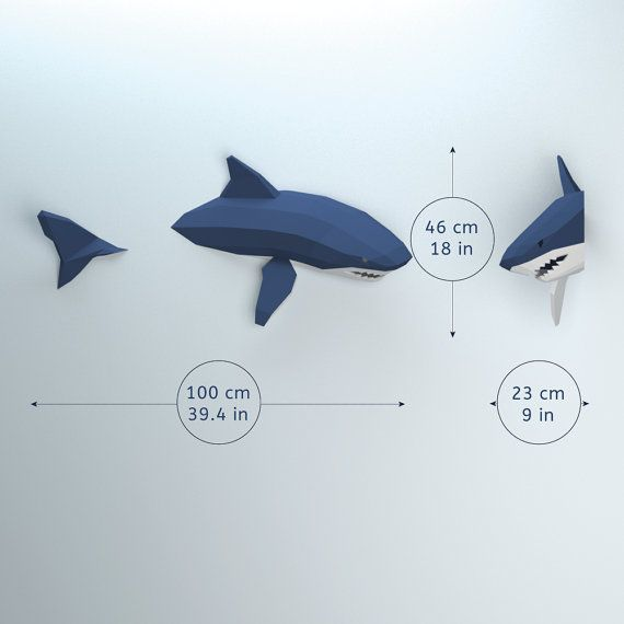 Modelo de bajo poli tiburón tiburón de Papercraft 3D por OXYGAMI