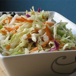 Amish Slaw - Allrecipes.com I made this with 3/4 cup splenda instead of sugar and a fraction of the oil for a lower-calorie side. Tastes awesome! Plus or minus red onion and I bet you could add some finely chopped apple for a nice flavor.
