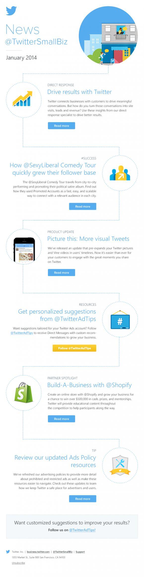 Twitter newsletters html email marketing design