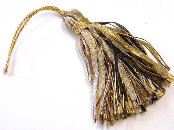 4 tassels brown beige and gold key tassel supply for by Eleptolis