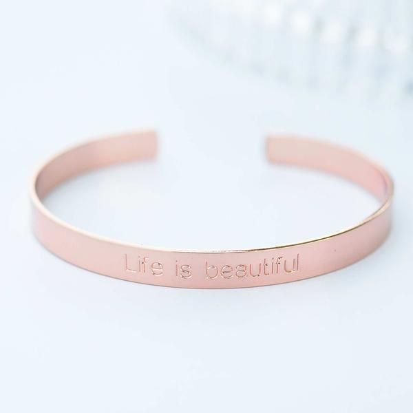 Majolie - Life is Rose Gold Bangle Bracelet -