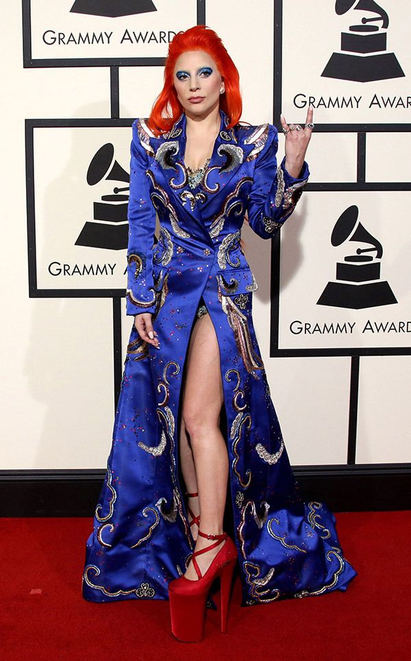 Lady Gaga's Wildest & Wackiest Outfits Ever: Lady Gaga channels David Bowie during the Grammy Awards 2016 red carpet  (REX/Shutterstock)