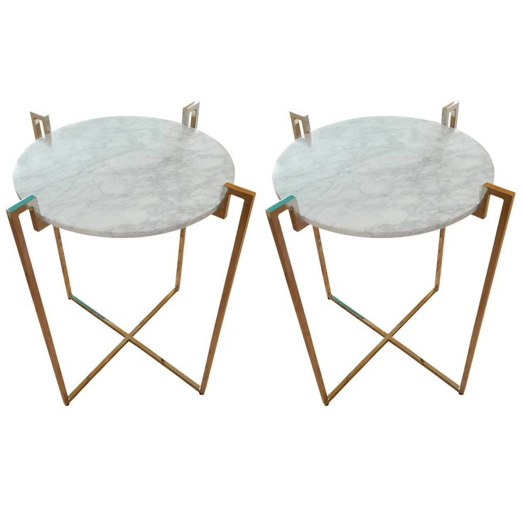 Pair of Nickel and Marble End Tables   From a unique collection of antique and modern side tables at https://www.1stdibs.com/furniture/tables/side-tables/