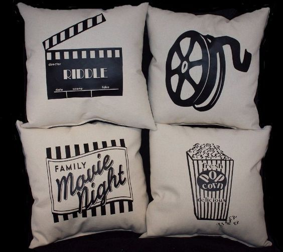 Set of 4 Home Theater Pillows PERSONALIZED Home Movie theatre Decoration a complete set stuffed and sewn shut
