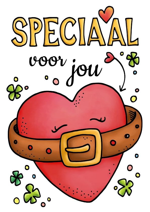 Hart onder de riem met een dikke knuffel, om iemand succes te wensen of voor steun, beterschap of... Verkrijgbaar via Kaartje2go - handlettering, doodle, illustratie