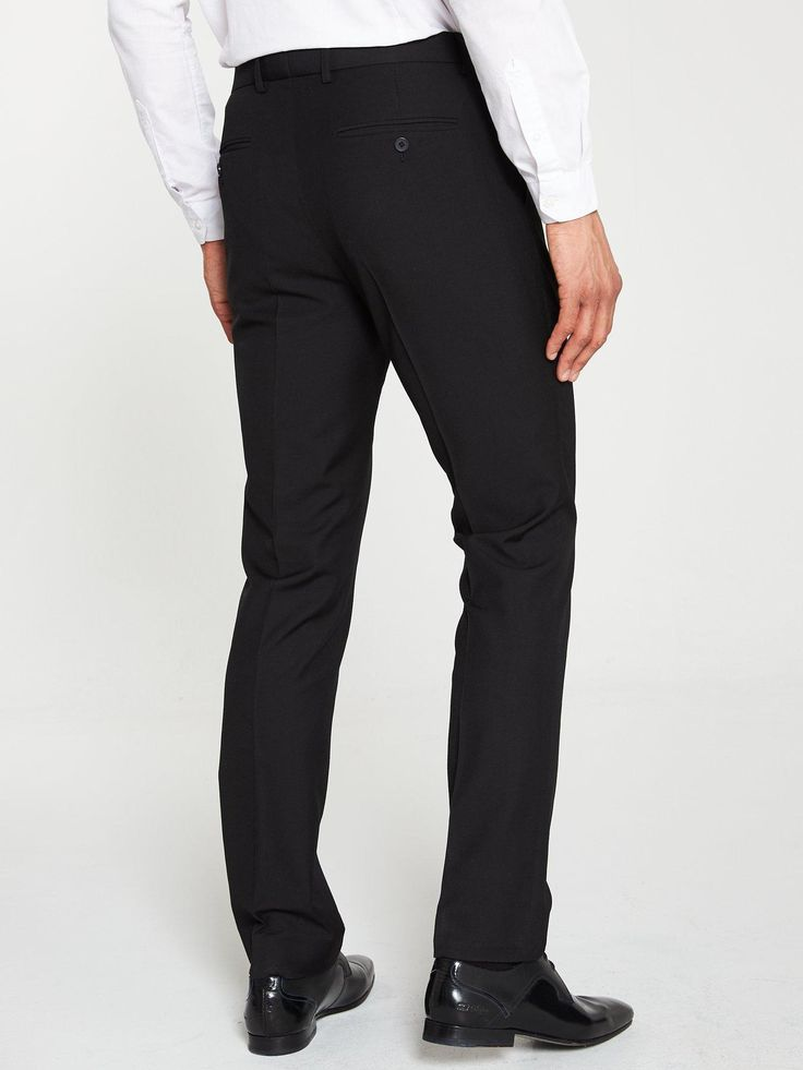 V By Very Pv Stretch Regular Suit Trousers – Black, Black, Size 38, Length Regular, Men – Black – 38, Length Regular