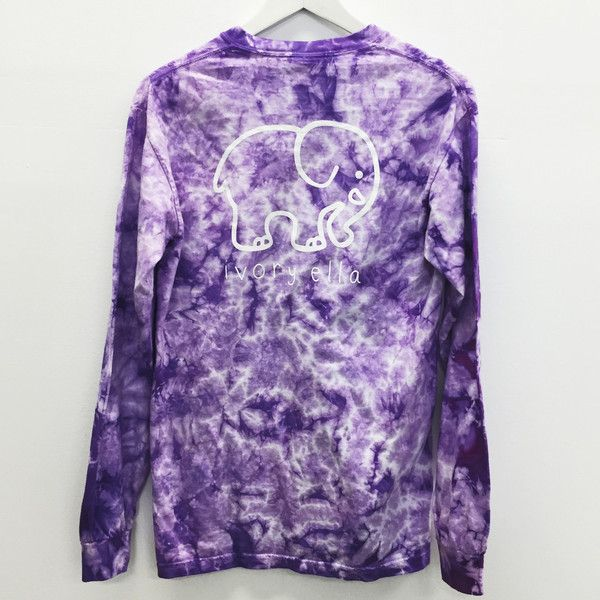 Pocketed Lavender Acid Wash Tie-Dye Classic Print ($165,000) ❤ liked on Polyvore featuring tops