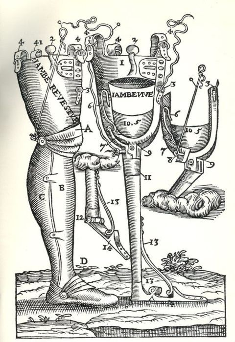 Prosthetic Leg.  From Opera Chirurgica… by Amrbose Paré (1594).