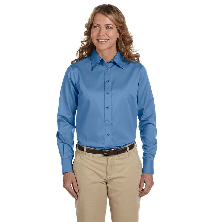 Easy Blend Women's Long-Sleeve Twill With Stain-Release Nautical Shirt