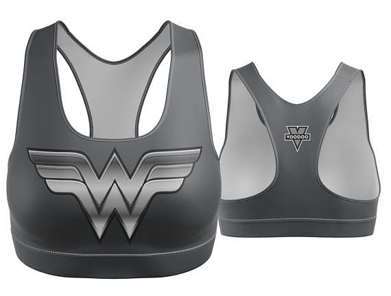 Custom Wonder Woman Sports Bra Charcoal with Silver Breastplate | Yoga Bra | Women's Bra | Yoga Top | Gym Bra | Yoga Wear | Gym Bra | Exercise Bra | Workout Top | Bikini Top | Plus Size Bra | Bra | SportsBra | Work Out Bra | Gym Wear | Super Hero Bra | DC Comics |  Made in the USA. -Custom Sports Bra designed, printed, cut and sewn to order in Phoenix, AZ -Great gift for her -82% Polyester / 18% Spandex blend. -4 way stretch which means fabric stretches and recovers both on the cross and...