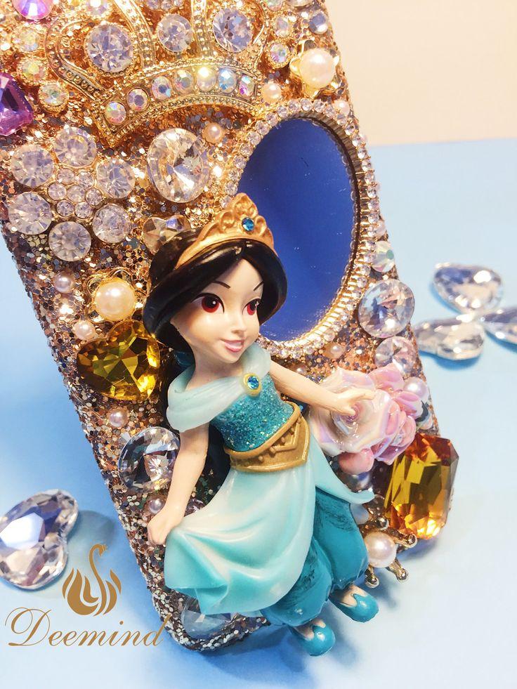 DIY PHONE CASE-Princess Jasmine -Aladdin, shining phone case, Mirror,Gold colored, cute,personalised phone case for iPhone6PLUS/6SPLUS/7PLUS by Deemindstudio on Etsy