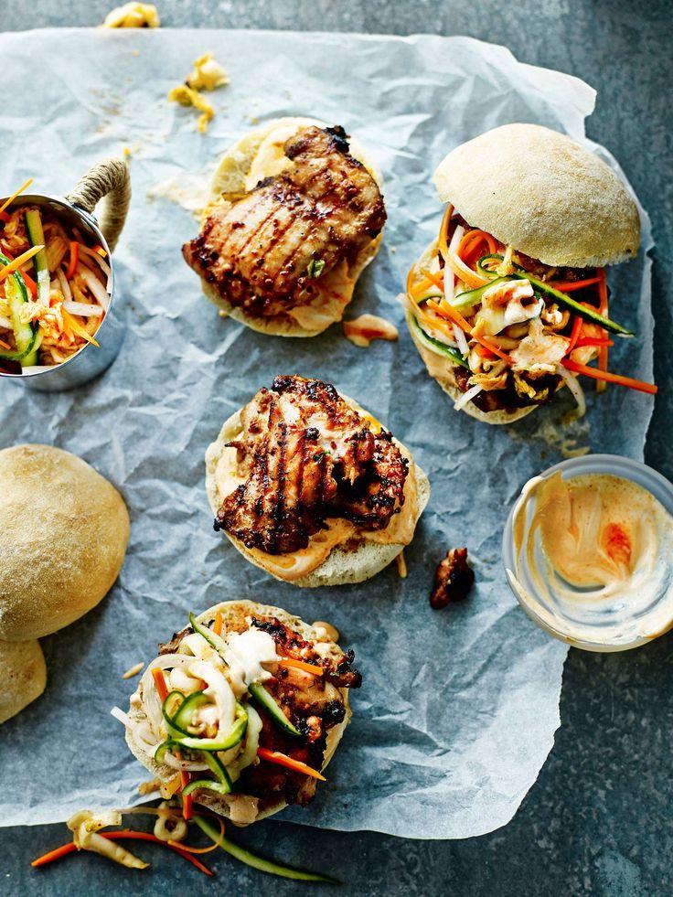 BBQ Chicken Burger with Kimchi Slaw | Bill Granger
