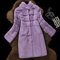 Х-долго 90 см натурального меха кролика пальто женщин стоять воротник волны cut натуральный мех пальто верхняя одежда 2017 осень зима плюс размер S-6XL
