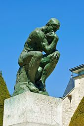 Auguste Rodin, The Thinker, observe shape, mass, and line in sculpture