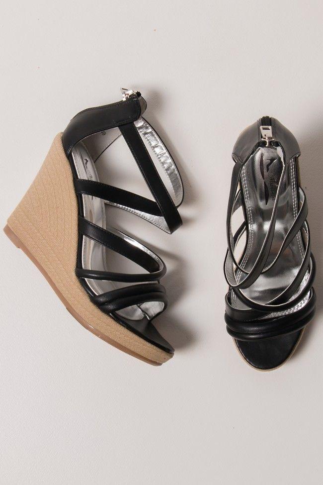 Crossbones Black Platform Shoes