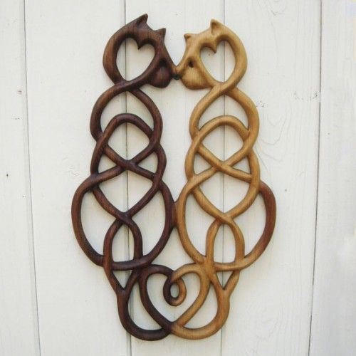 Cat Love Knot - Wood Carved Celtic Style - Anti Co-Dependency Love Kn | signsofspirit - Woodworking on ArtFire