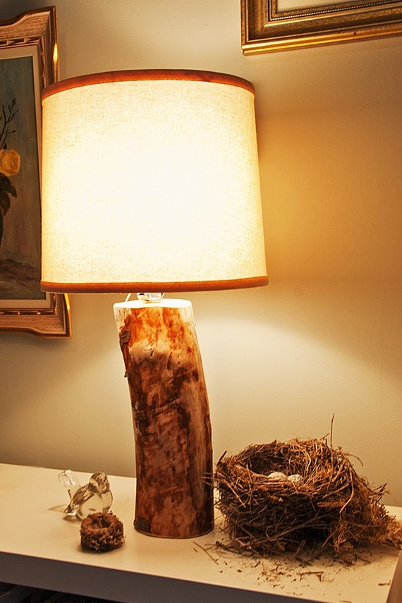 pretty and rustic lamp with wooden base by on etsy