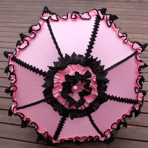 Don't forget your parasol. How about this Pink and Black Cupcake Parasol Goth Lolita Venice Lace Beaded Trim?