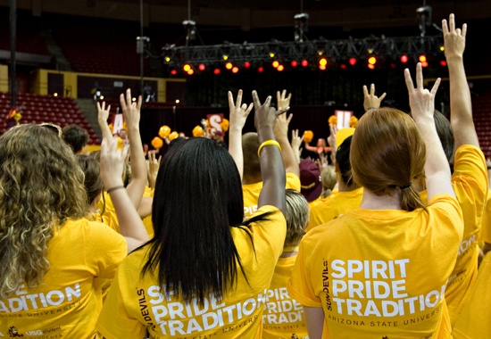 Students learned the fight song and how to make the ASU pitchfork symbol during Sun Devil Welcome.: Sun Devil, Devil Welcome, Student Learning, Devil Pride, Devil National