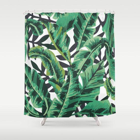 Tropical Glam Banana Leaf Print Shower Curtain