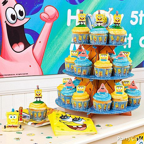 Bake a couple batches of cupcakes and top them with icing and SpongeBob cupcake decorations.