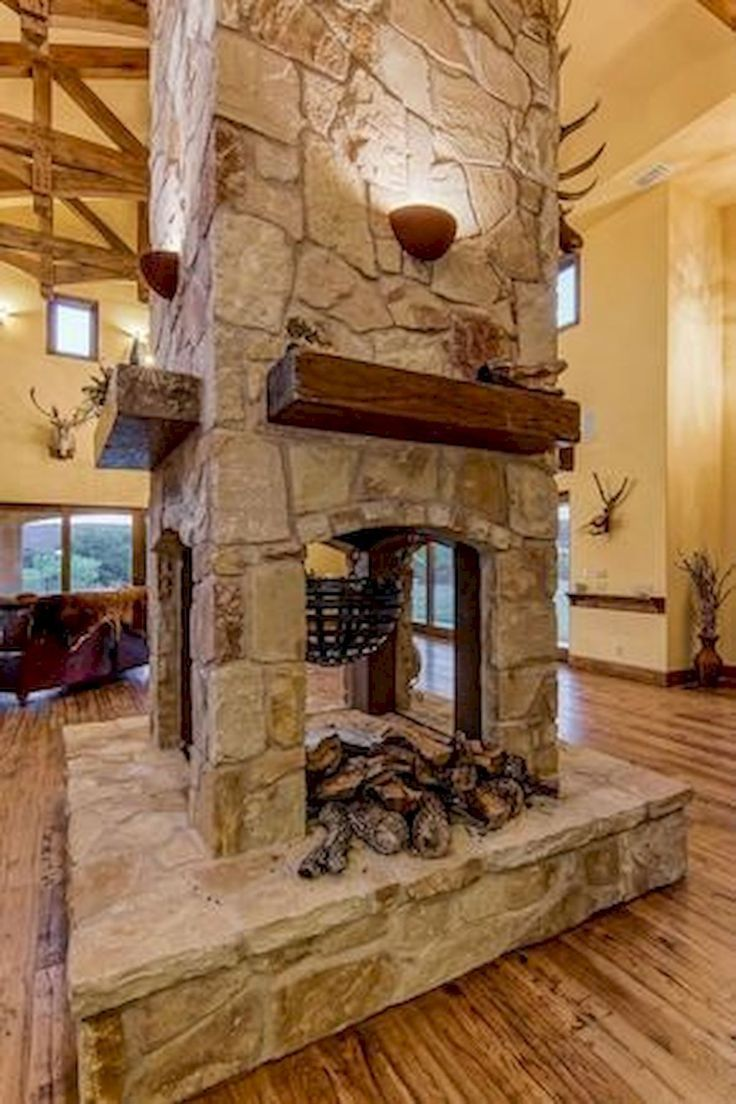 60 Stunning Log Cabin Homes Fireplace Design Ideas (28
