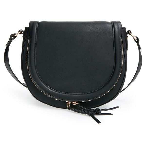 Sole Society 'Thalia' Faux Leather Crossbody Bag ($50) ❤ liked on Polyvore featuring bags, handbags, shoulder bags, black, black shoulder bag, black crossbody, black cross body purse, crossbody handbags and black faux leather purse