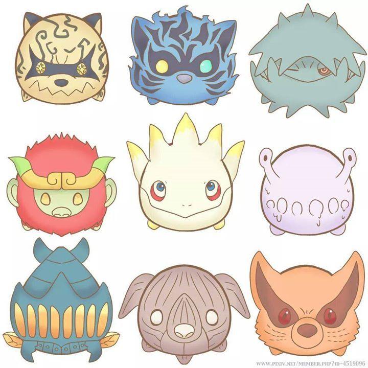Shukaku, Matatabi, Isobu, Son, Kokuo, Saiken, Chomei, Gyuki, and Kurama #chibi