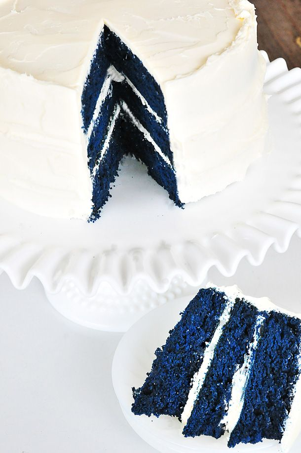 Blue Velvet Cake | Cake from scratch, adapt your favorite chocolate cake or use a mix.   Ingredients: ½ cup Crisco  1 ½ cups sugar  2 eggs  1 ounce royal blue gel paste food color  2 drops violet gel paste food color  2 tablespoons cocoa  2 ¼ cups all-purpose flour  1 scant teaspoon salt  1 teaspoon vanilla  1 teaspoon soda  1 cup buttermilk  1 tablespoon vinegar