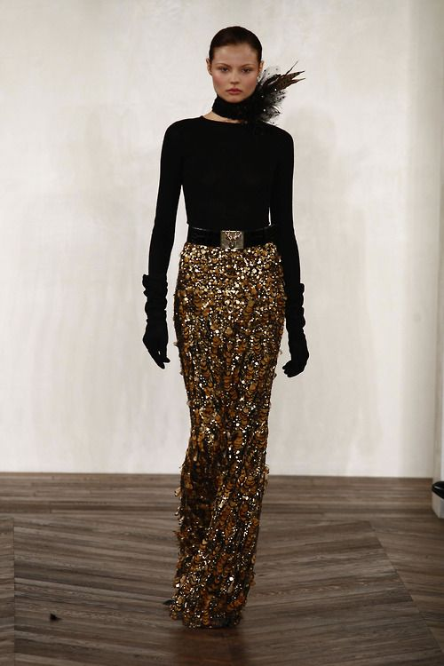 Long Gold Sequin Skirt