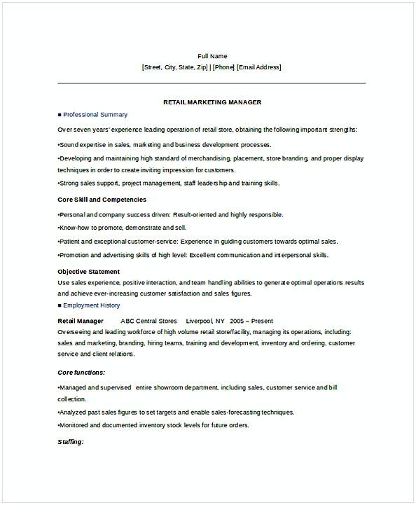 Retail Marketing Manager Resume Retail Manager Manager Resume Resume Examples