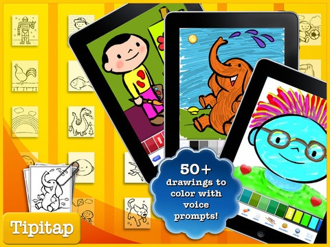 "Color & Draw for kids HD: 4 apps in 1 - Coloring Book for iPad ($1.99) 1.  drawing and sketching app   2. A coloring book app with 50 drawings of fun topics including animals, professions and landscapes   Artistic Springboard where some drawings are ""incomplete"" so children, guided by voice over instructions, can creatively interact with the drawing.   3. A photo decorator where kids can draw over your own photos and decorate them with stickers  4. Letter & number tracer."