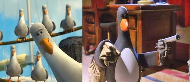 gaviotas de Nemo y el pingüino ladrón de Wallace & Gromit: Los pantalones equivocados