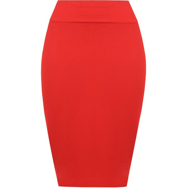 Tonya Basic Bodycon Pencil Skirt ($11) ❤ liked on Polyvore featuring skirts, red, midi skirt, red pencil skirt, knee length pencil skirt, high-waisted skirts and red bodycon skirt