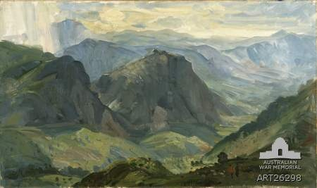 View of the landscape across Brallos Pass where the 6th Australian Division and New Zealand troops fought a rearguard battle against invading German forces during the Greek campaign, by William Dargie. Source: Australia War Memorial Via: @AWMemorial