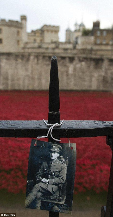 A photograph of a soldier was left at the Tower of London