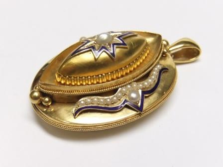 Victorian gold, pearl and enamel locket Circa 1870-80