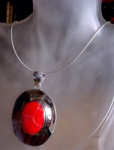 Red Sponge Coral Oval Pendant c/w Sterling Silver Rope by camexinc