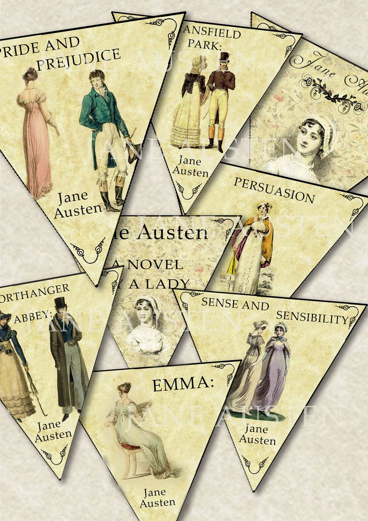 Jane Austen Books 8 Bunting designs digital collage sheet. DIGITAL DOWNLOAD by AngelicaNight on Etsy https://www.etsy.com/uk/listing/521367446/jane-austen-books-8-bunting-designs