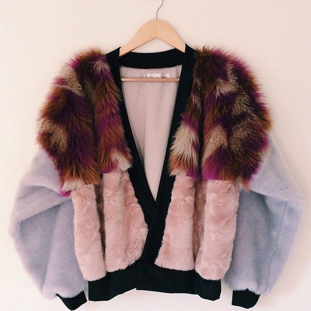 Lilac, pink and multicoloured faux fur mix. #TDS15 An exclusive, one off design.