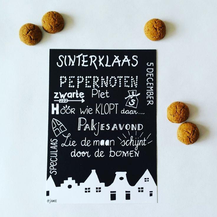 Handlettering Sinterklaas kaart zwart