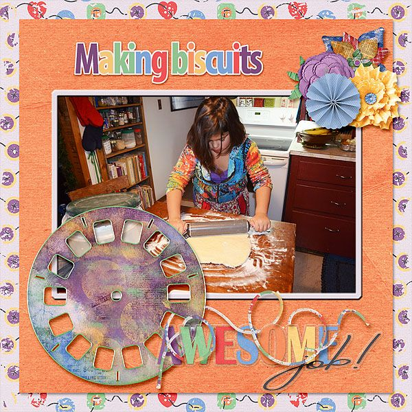 "Miss Teyla has become quite the biscuit maker. She is good at rolling and cutting them out too.     MDD Designs DD - Beautiful Mess is a bright and fun mini.     It is perfect for all types of ""messy"" layouts."