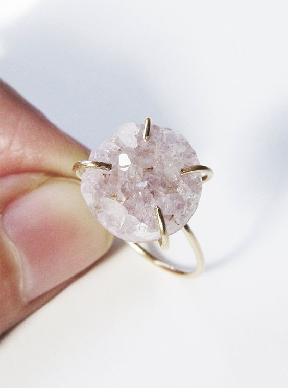 OOAK rose quartz vanilla druzy ring