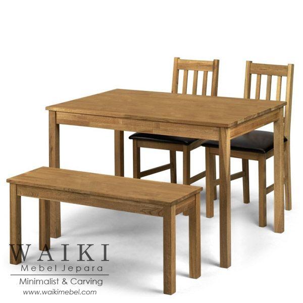 Meja makan minimalis 2 kursi jok, 1 meja panjang, 1 bangku panjang. Produsen kursi meja makan restoran konsep america minimalis kualitas ekspor Jepara.