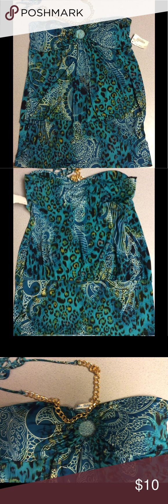 Blue Sketch Halter top, NWT, Sz L This fun halter top, by Blue Sketch, has gold toned chain links that lay across your collarbones before the (matching material) strings are used to tie the straps behind your neck. The super soft and silky polyester material has a paisley/animal print pattern in shades of blue, teal, green, white, black, and brown. The cups are padded and molded to fit in a flattering manner and are separated with a peek-a-boo 'key hole' that the chain is attached to. Smock…