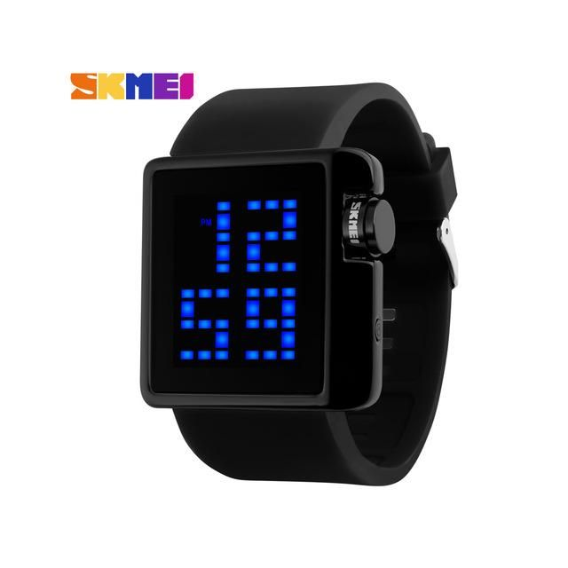 Fashion men watches 2018 luxury pure black digital silicone Mens Sports Watches LED Military Watch square Electronic Wristwatch
