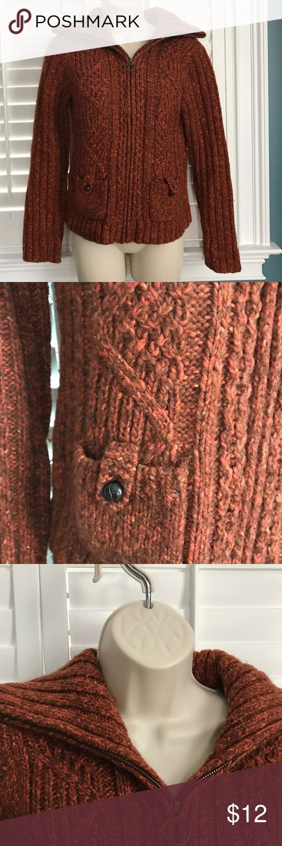LOFT Burnt Orange Zip Up Cardigan Sweater Excellent condition--heavy knit, full zip, collar LOFT Sweaters Cardigans