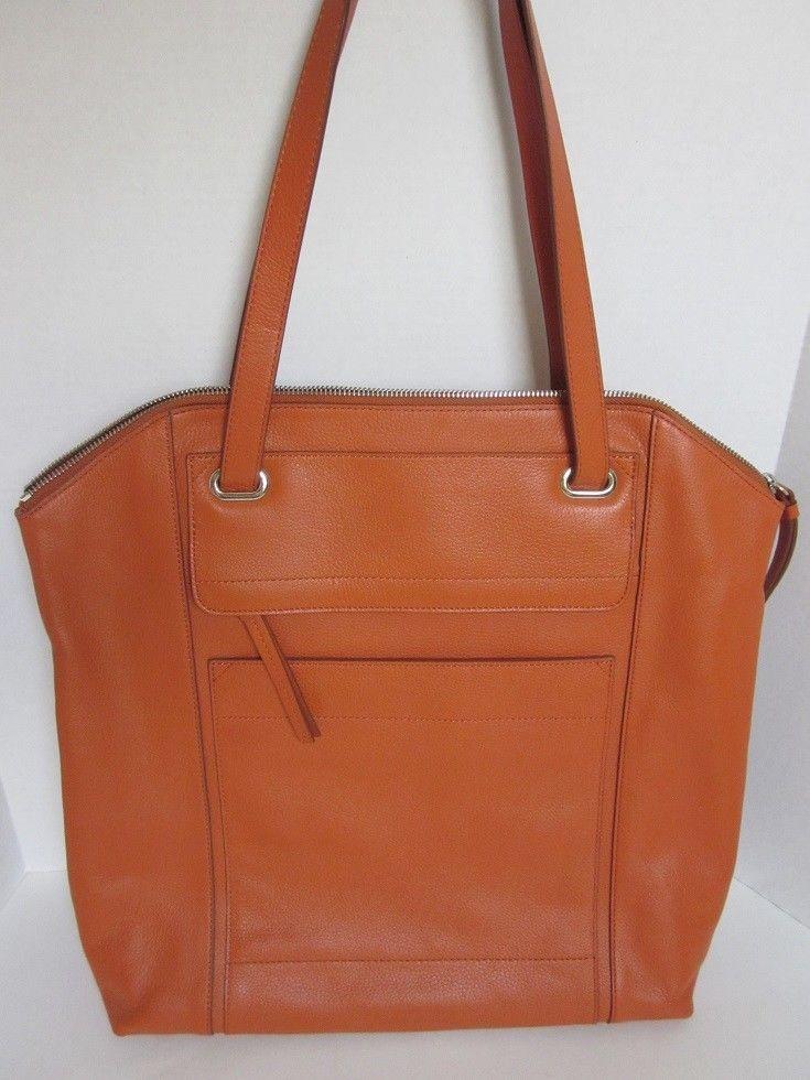 *NWT Banana Republic Orange Pebbled Leather Zip Tote Bag #BananaRepublic #TotesShoppers