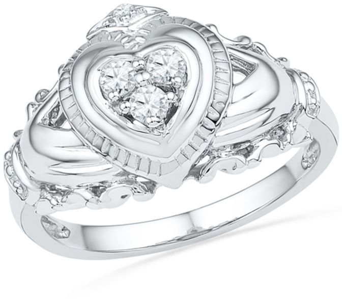 Zales 1/6 CT. T.W. Diamond Claddagh Ring in Sterling Silver